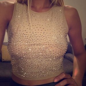 AKIRA beige semi-shear studded crop top